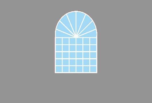 Rundbogenfenster in Zeltseitenwand