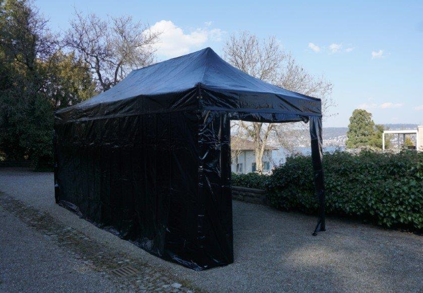 3x6 Meter PVC inkl. 4 Seitenwände schwarz